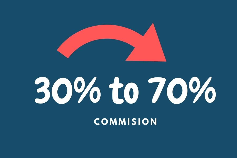 30 to 70 percent commision